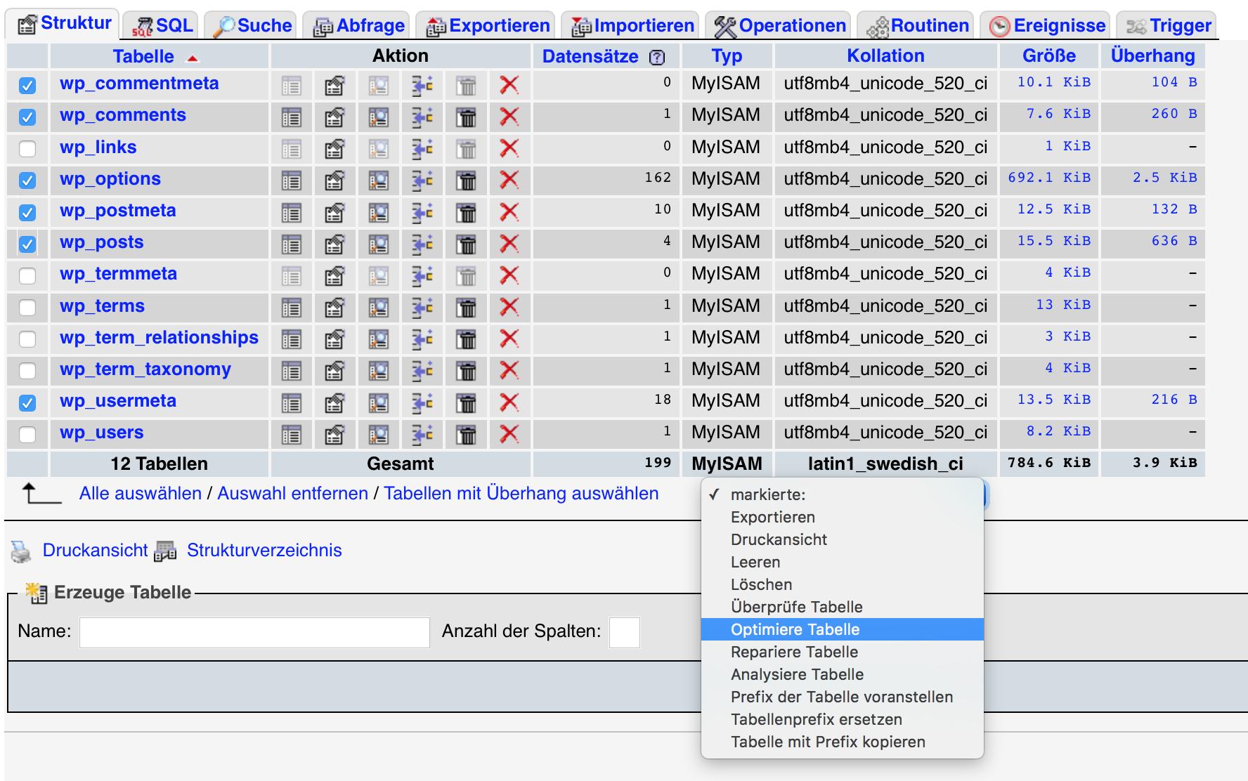 Markierte Datenbank Relationen optimieren