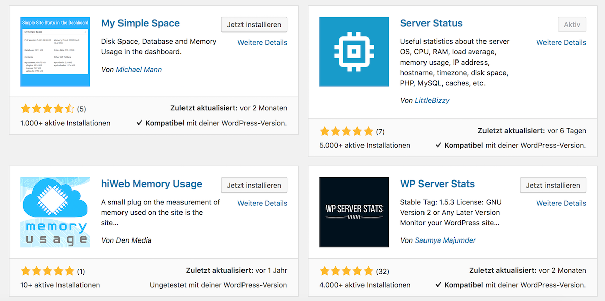 WordPress Plugins für Server Stats