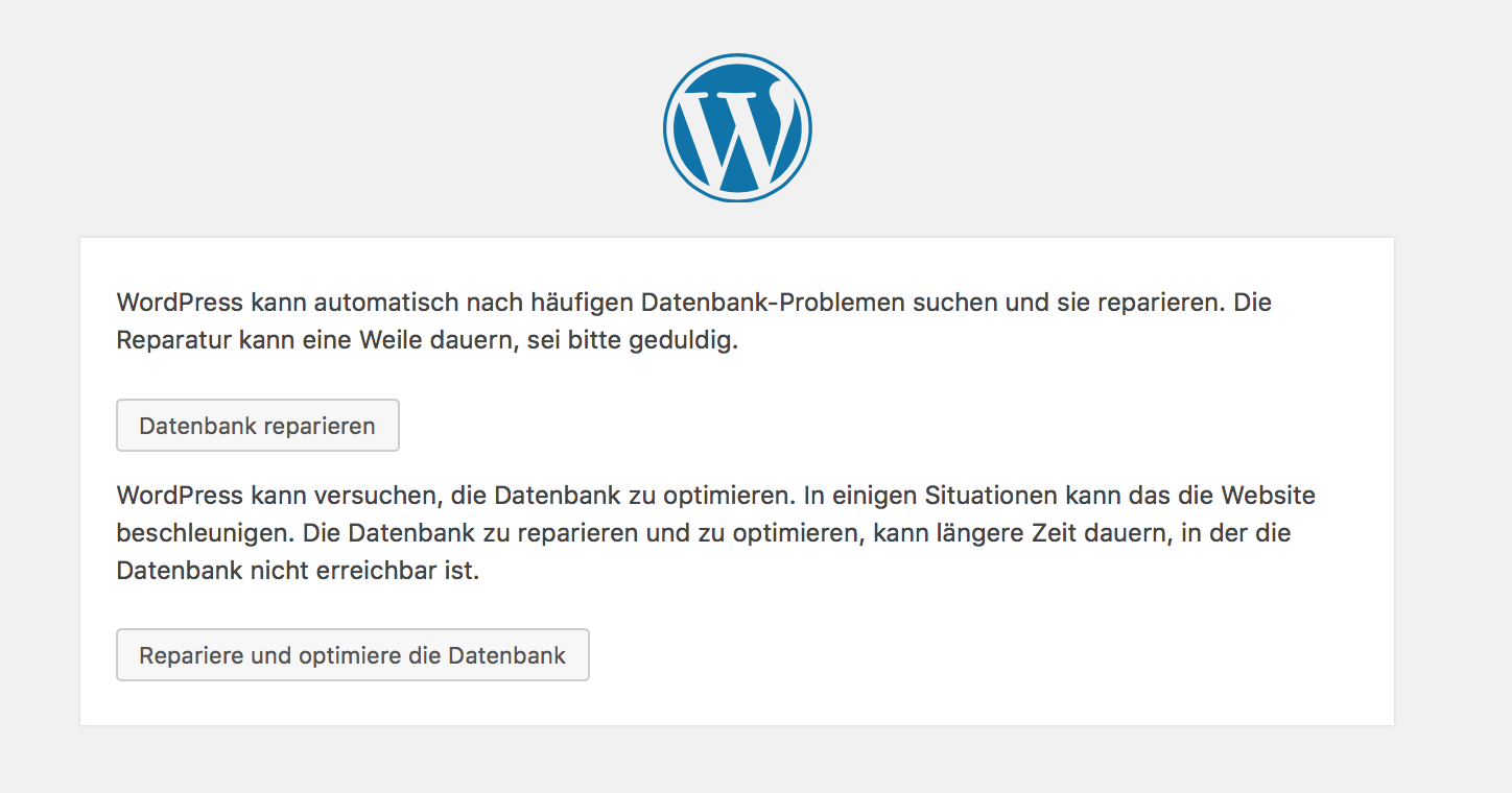 WP allow Repair Datenbankreparatur aktivieren