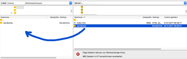 FTP Datensicherung für WordPress Verzeichnis