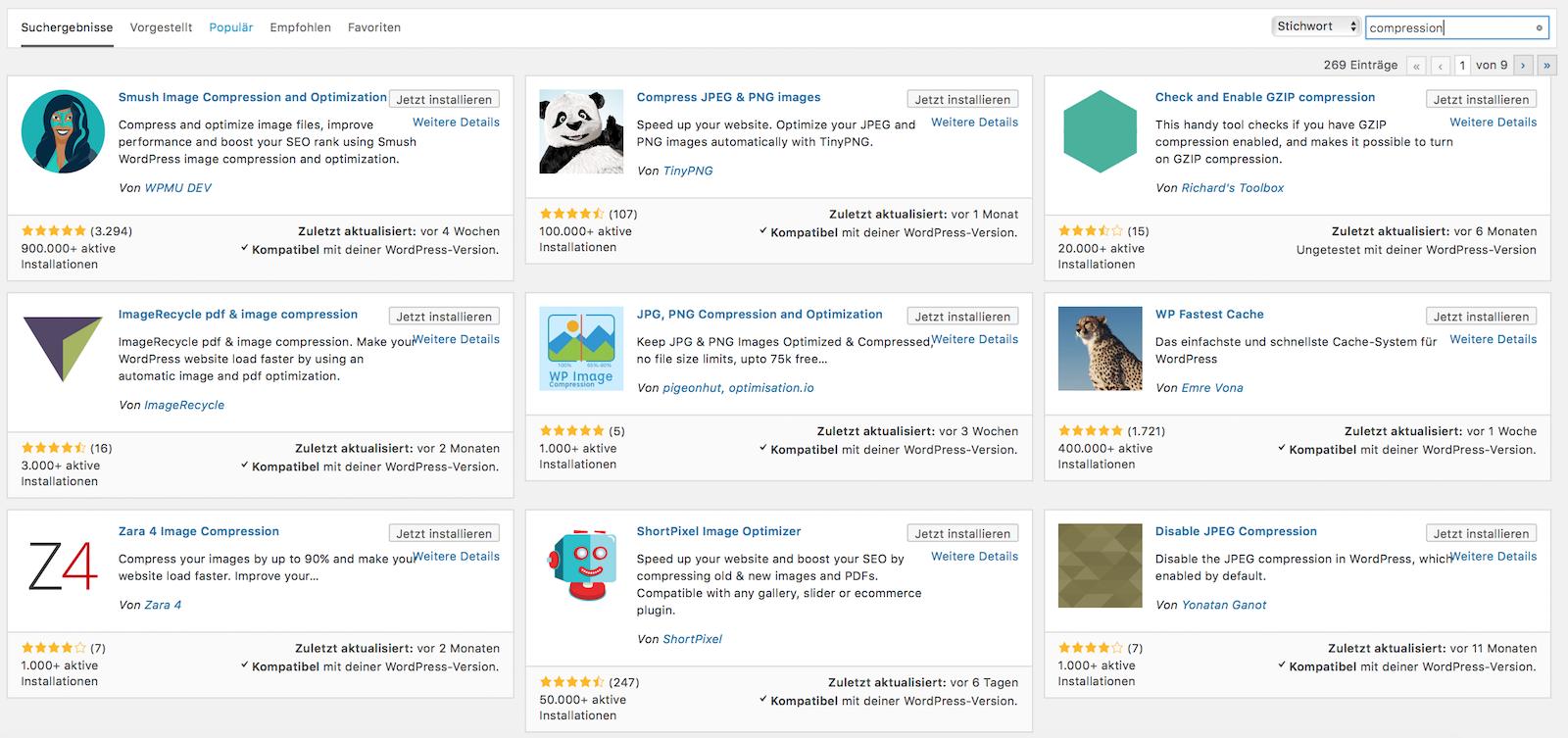 WordPress Plugins für Bildoptimierung