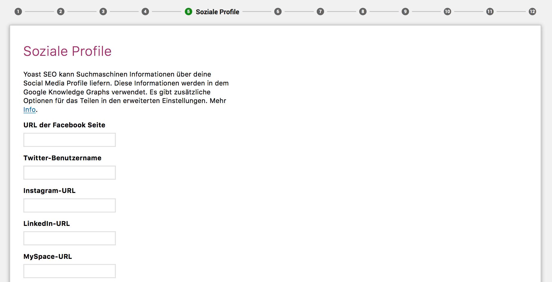Yoast-Konfiguration soziale-Profile