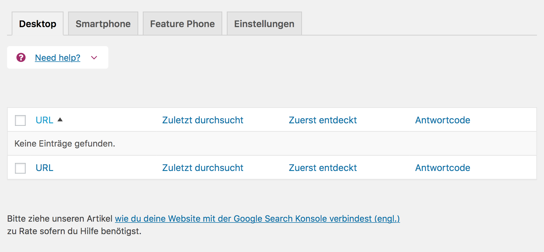 Detaileinstellungen Yoast Search Console