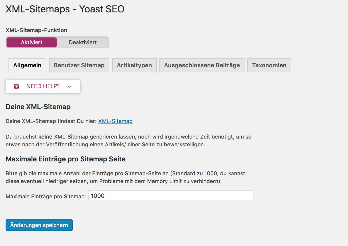 Yoast XML Sitemaps einstellen