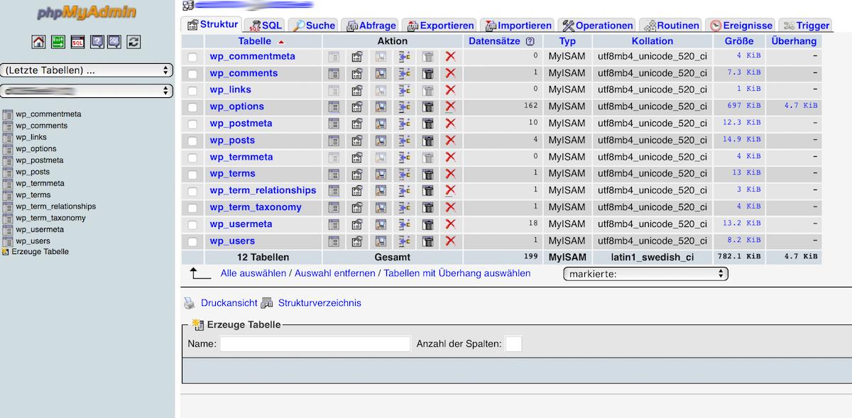 Login in die Verwaltungsoberfläche von phpMyAdmin