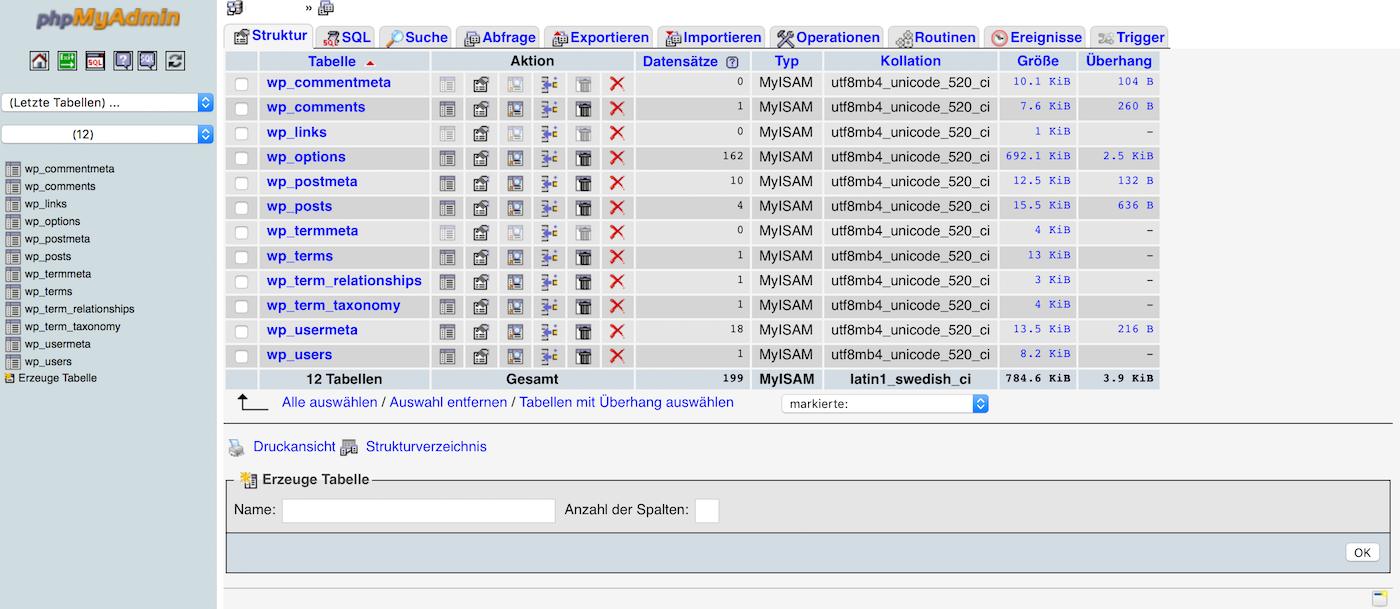 Benutzeroberfläche von phpMyAdmin in der WordPress MySQL Datenbank