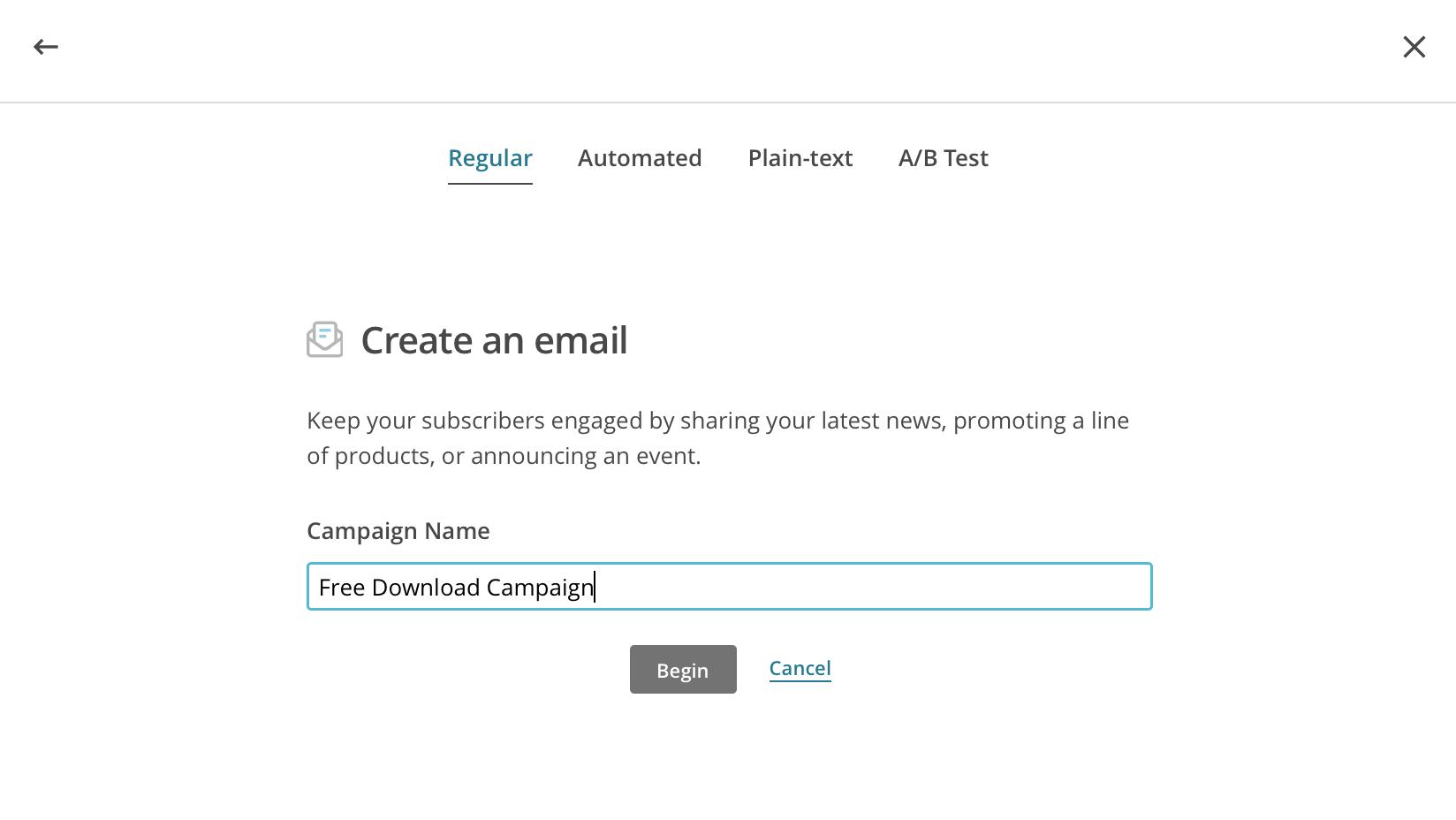 Reguläre E-Mail Kampagne erstellen