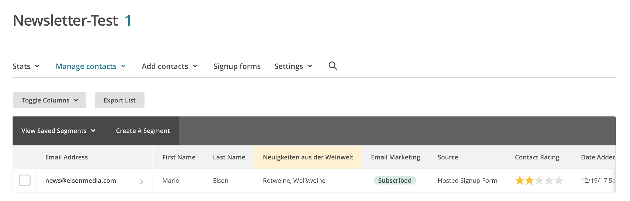 Gruppierte E-Mail Liste in Mailchimp