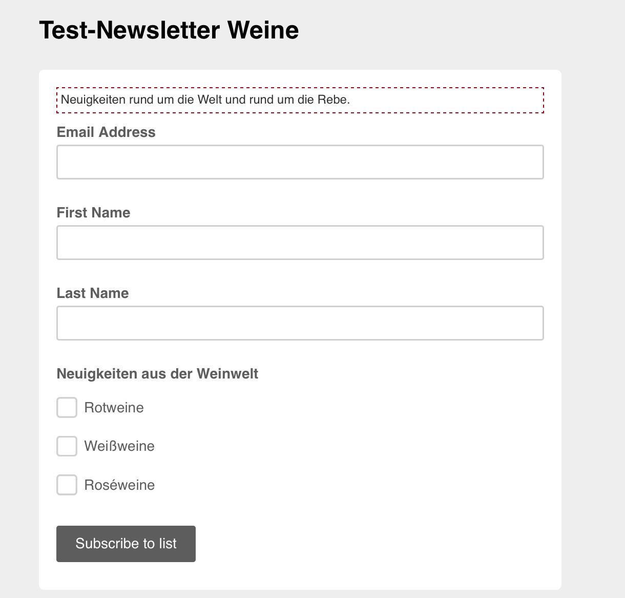 Gruppierungen im Signup-Formular von Mailchimp