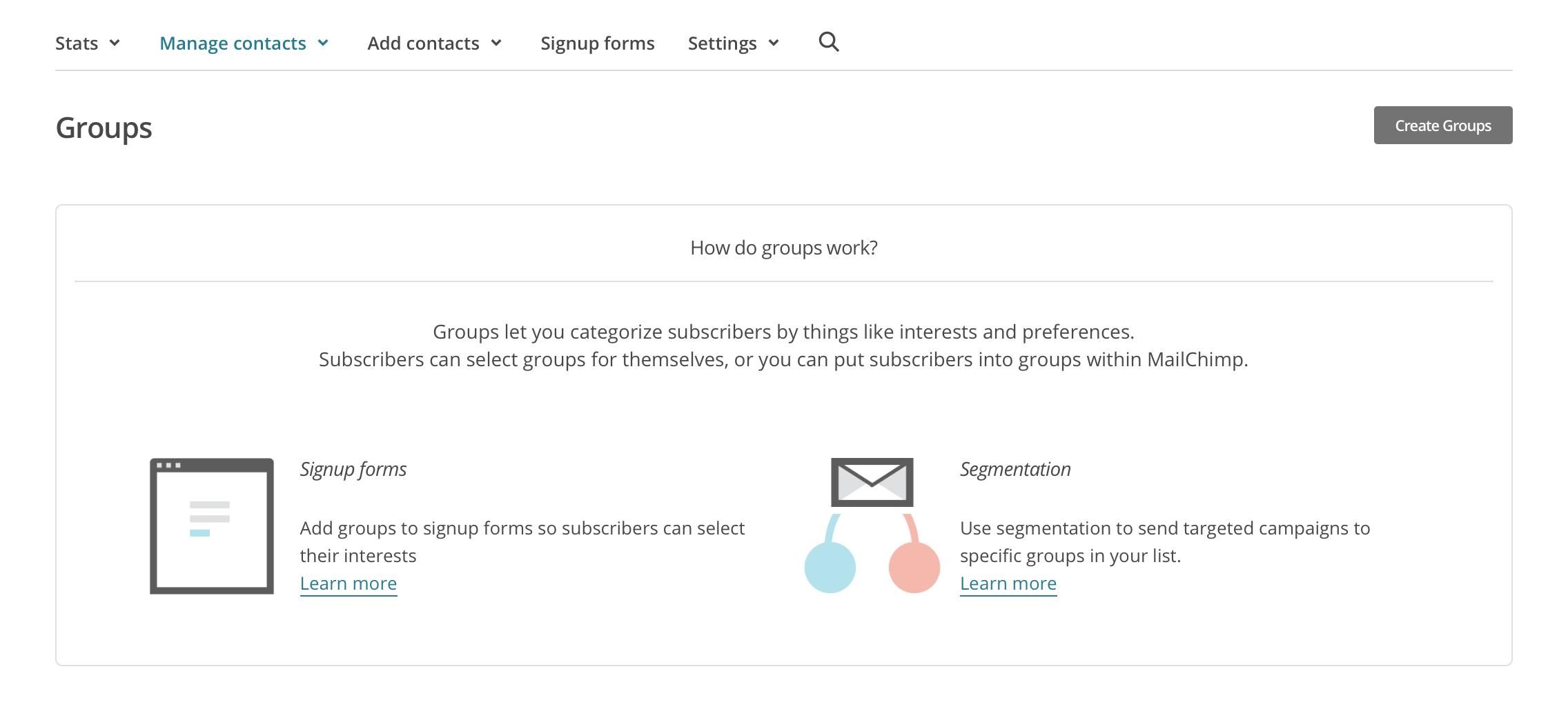Mailchimp Gruppierungen und Segmentierung anlegen