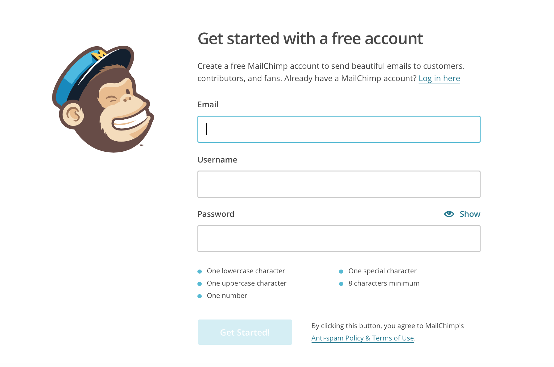 Mailchimp Account anlegen