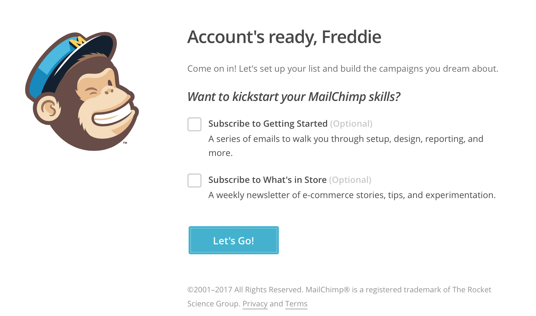 Mailchimp Newsletter Account fertig eingerichtet