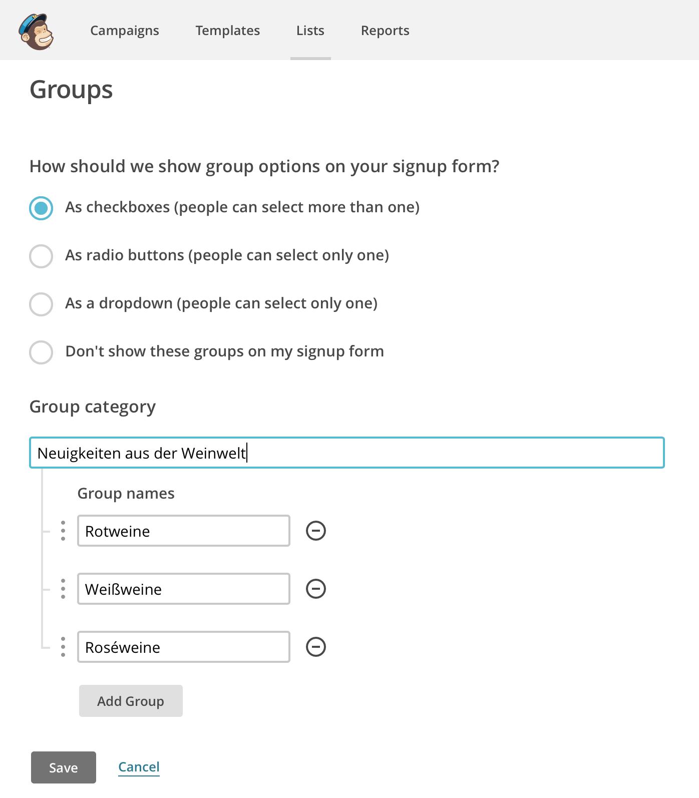 Darstellungsform für Mailchimp Gruppierungen