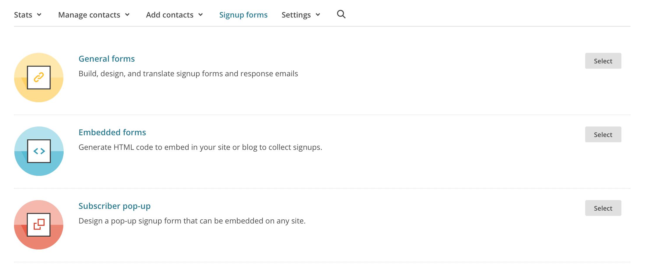 Mailchimp Signup Formulare anlegen