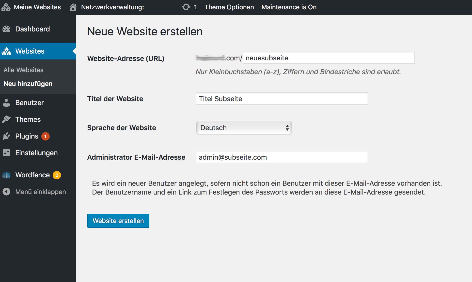 Neue WordPress Multisite Webseite erstellen