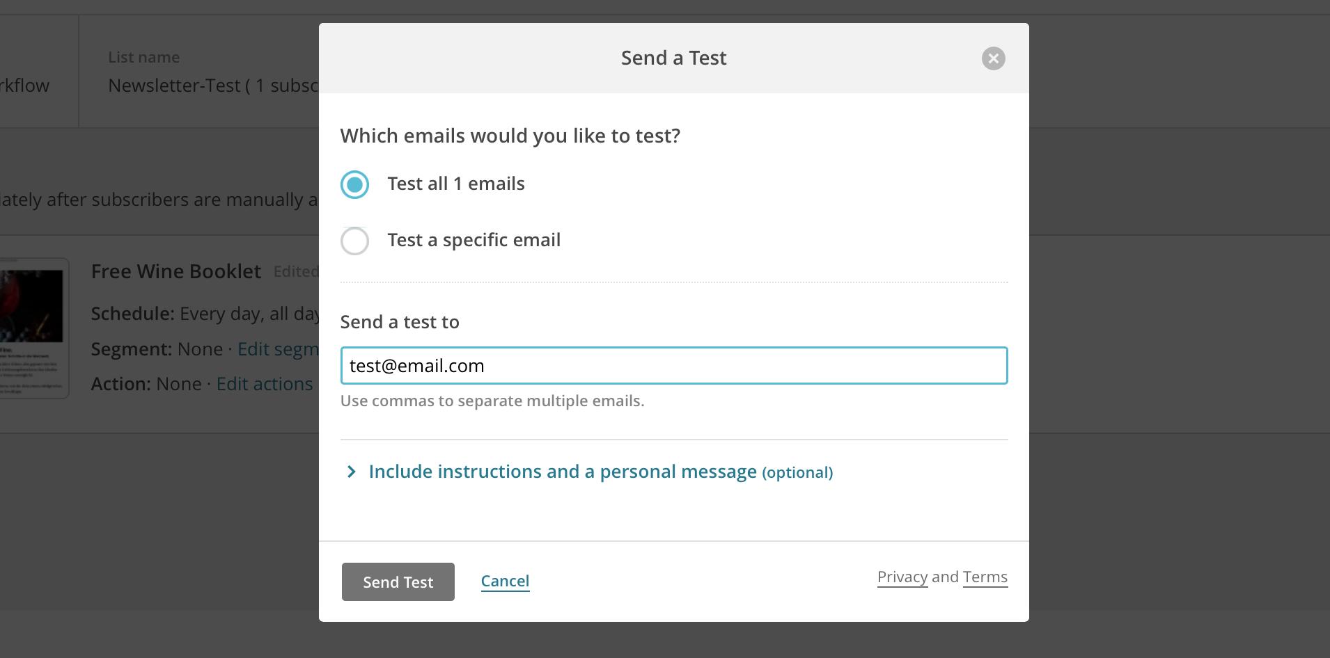 Test Email versenden