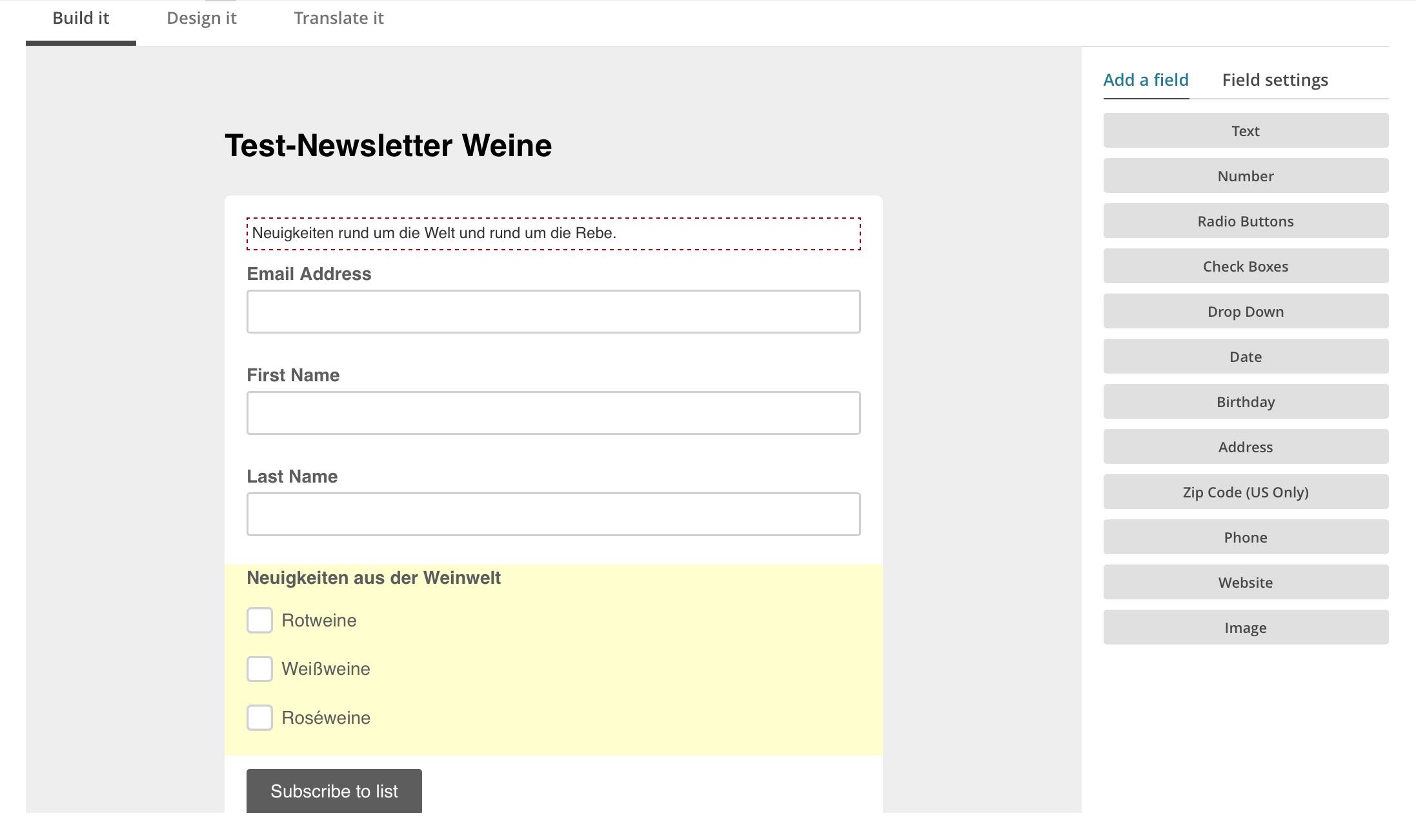 Signup Formular Editor in Mailchimp