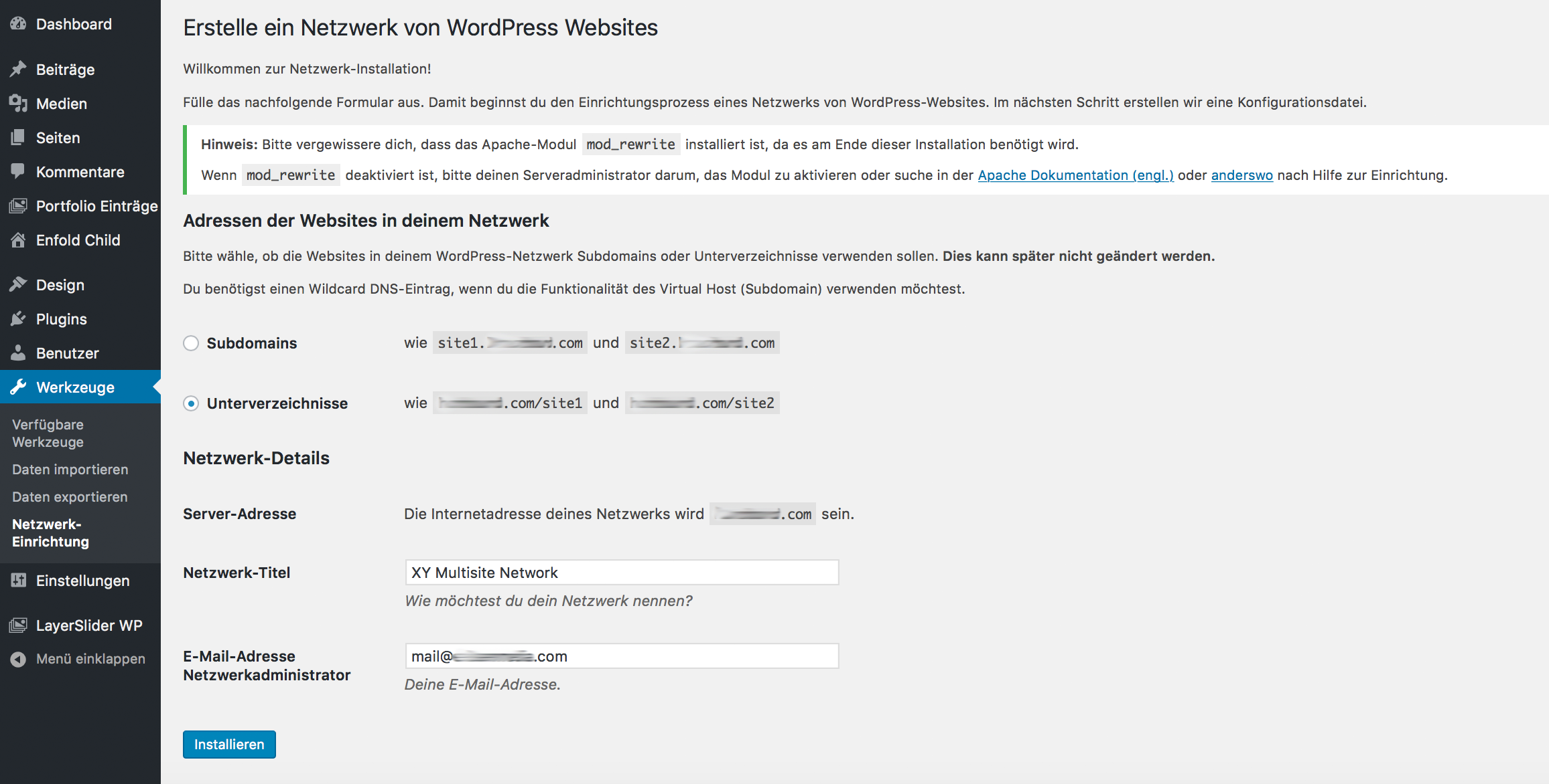 WordPress Multisite Installation einrichten