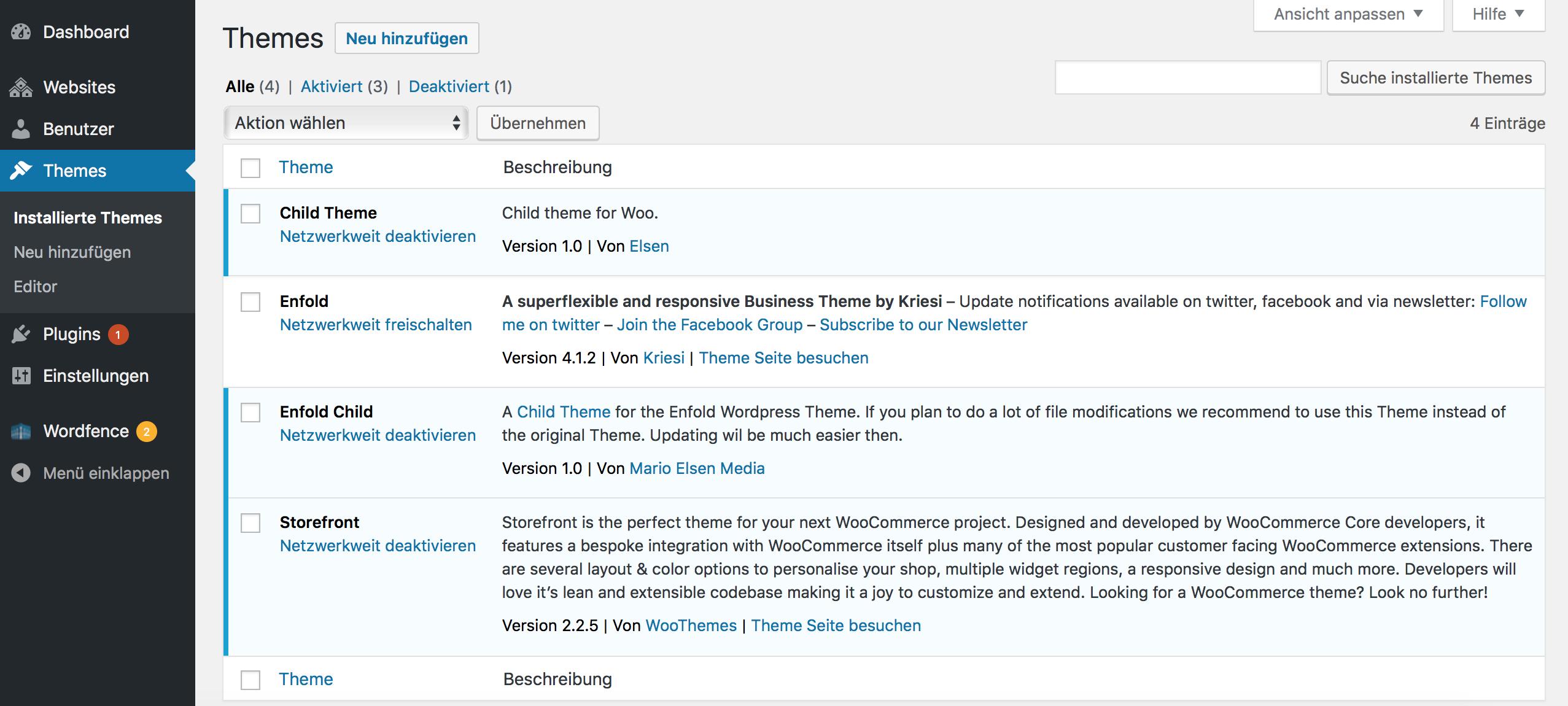 WordPress Multisite Themes installieren und aktivieren