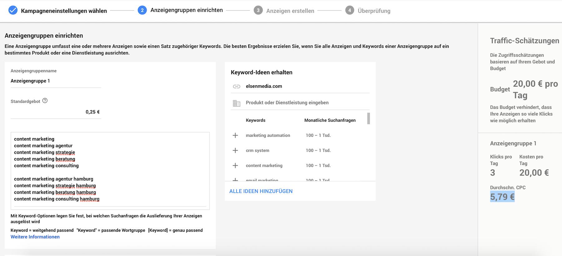 AdWords Anzeigengruppen einrichten und Keywords festlegen