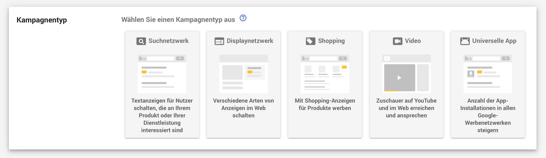 AdWords Kampagnentyp auswählen
