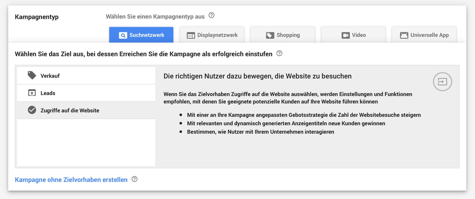 AdWords Kampagnenziel Suchnetzwerk