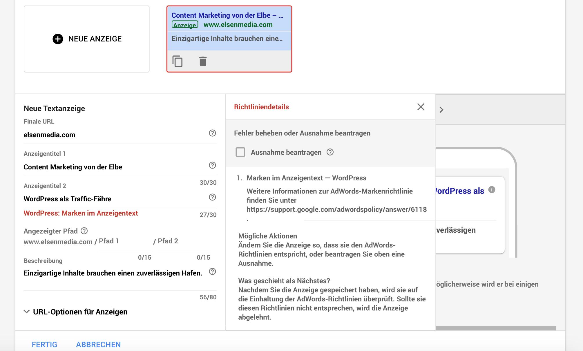 Google AdWords Verstoß gegen Werberichtlinien