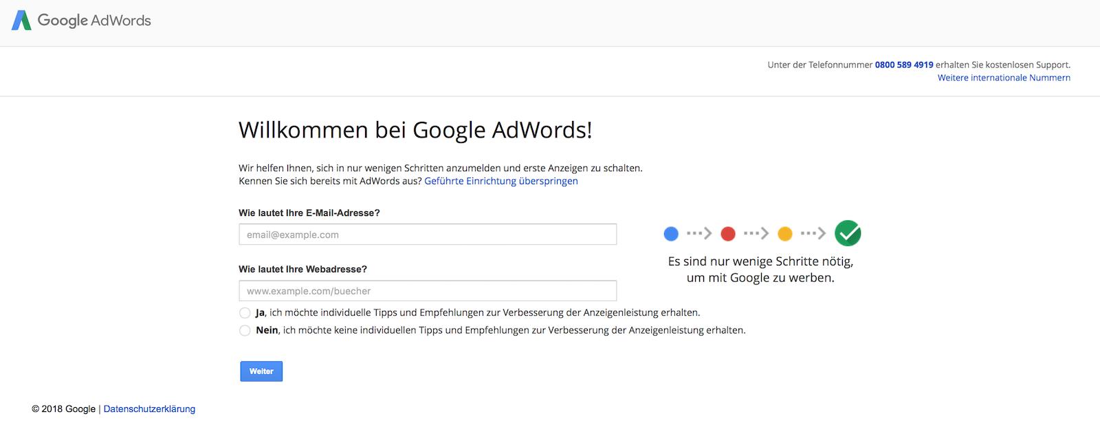 Google AdWords Konto erstellen
