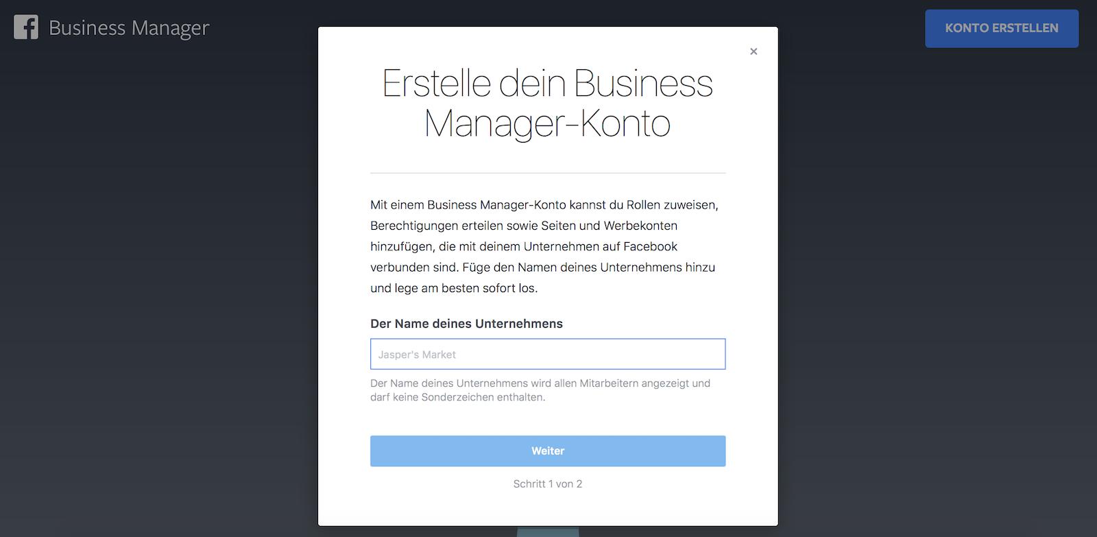 Facebook Business Manager Konto anlegen