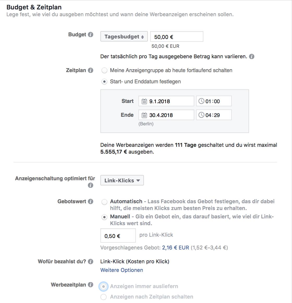 Budget und Zeitplan für Facebook Werbeanzeigen festlegen