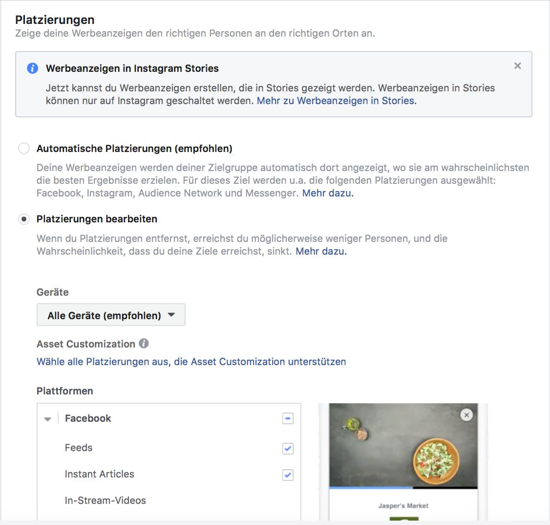 Platzierungen in den Facebook Anzeigen auswählen