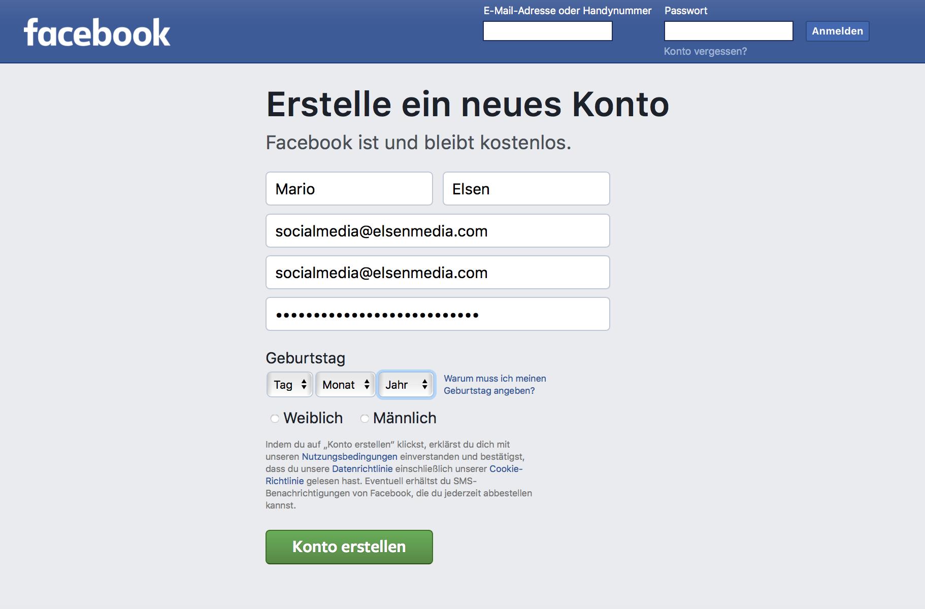 Einfaches Facebook Profil anlegen