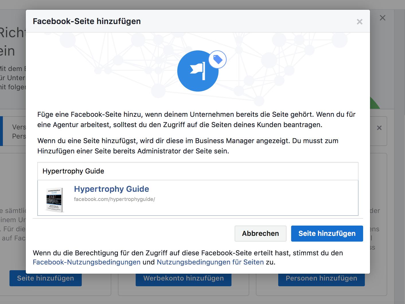 Dem Business Manager eine Facebook Seite hinzufügen