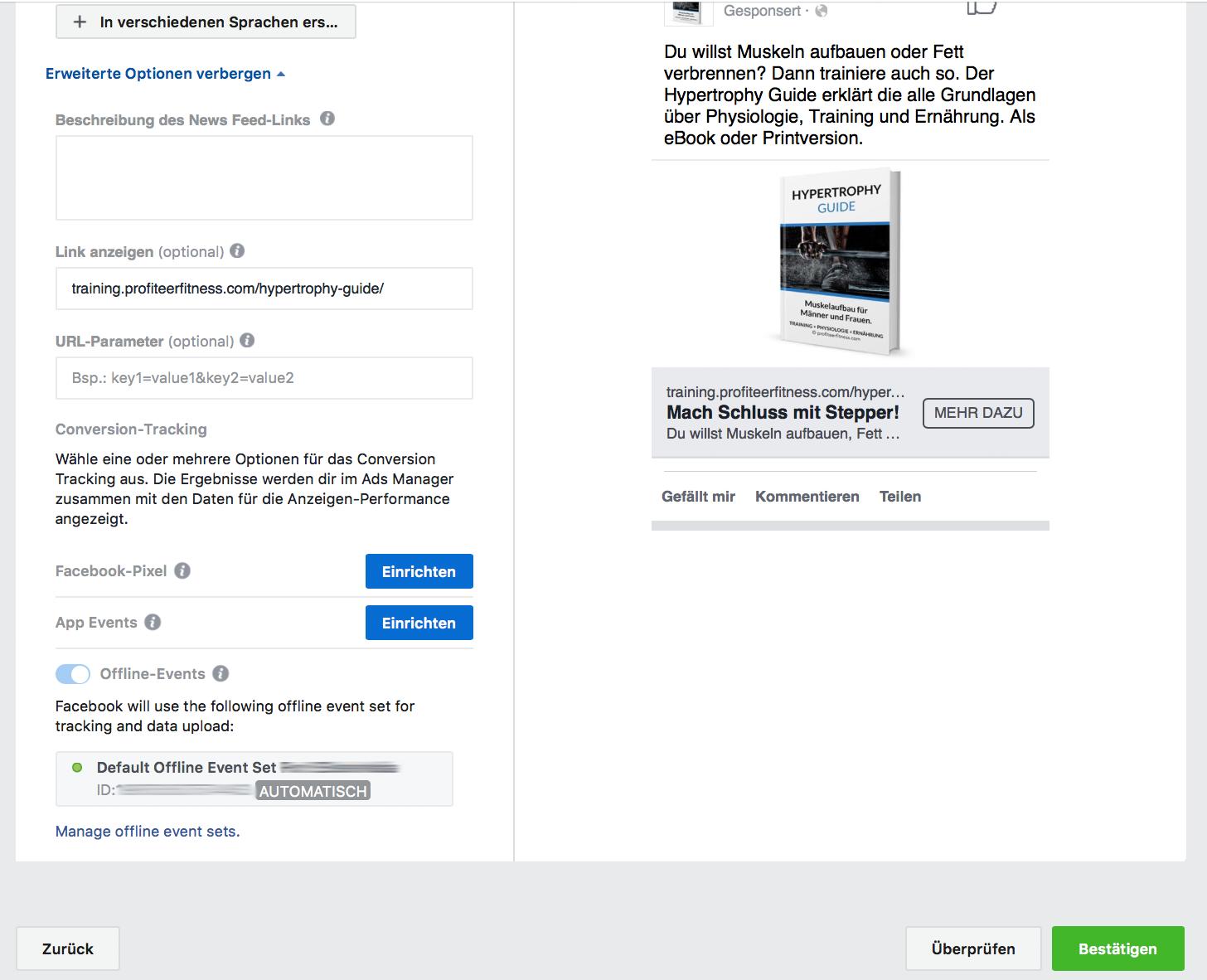 Facebook Werbeanzeige bestätigen und überprüfen lassen