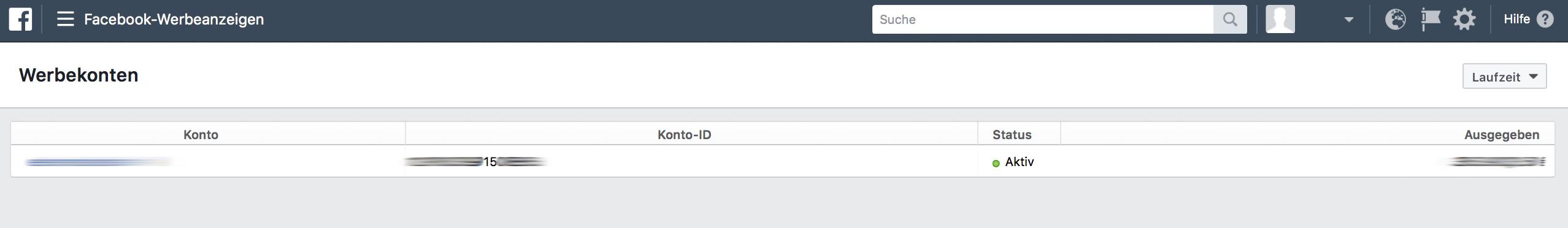 Facebook Werbekonto-ID herausfinden