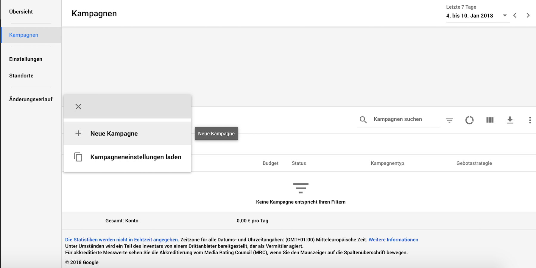 Neue AdWords Kampagne anlegen