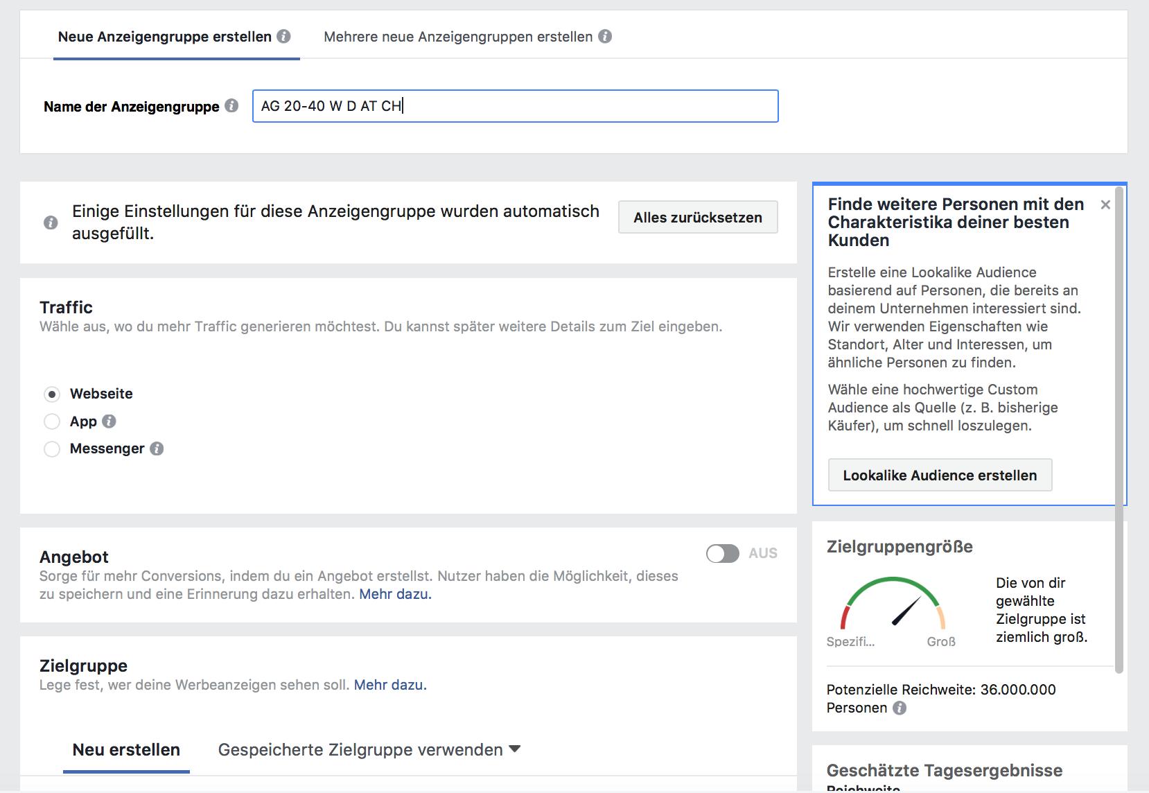 Facebook Anzeigengruppe erstellen