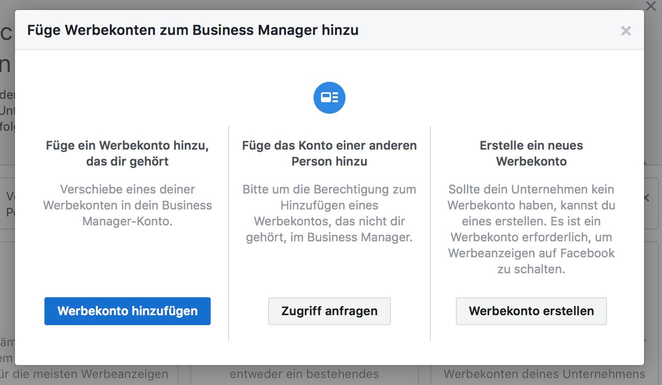 Facebook Werbekonto dem Business Manager hinzufügen