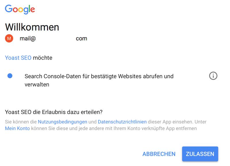 Zugriff auf Google Search Console zulassen