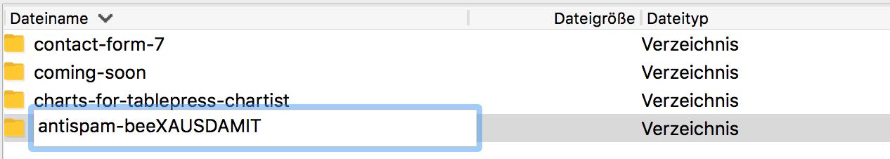 WordPress Plugin umbenennen und deaktivieren